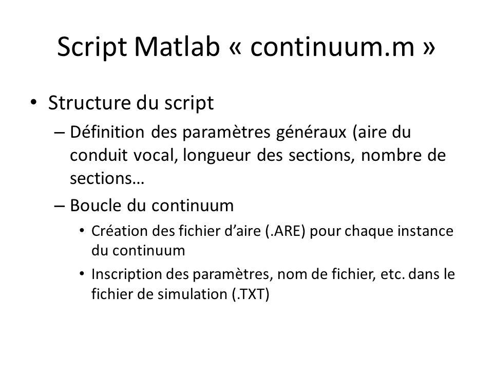 Script Matlab « continuum.m » Structure du script – Définition des paramètres généraux (aire du conduit vocal, longueur des sections, nombre de sectio