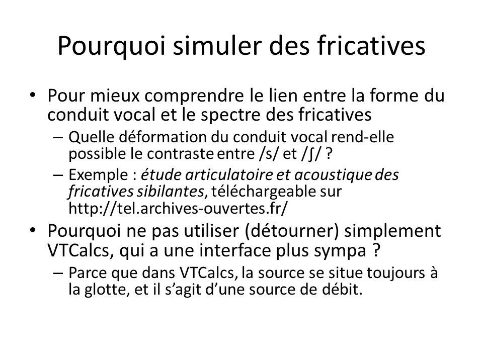 Pourquoi simuler des fricatives Pour mieux comprendre le lien entre la forme du conduit vocal et le spectre des fricatives – Quelle déformation du con