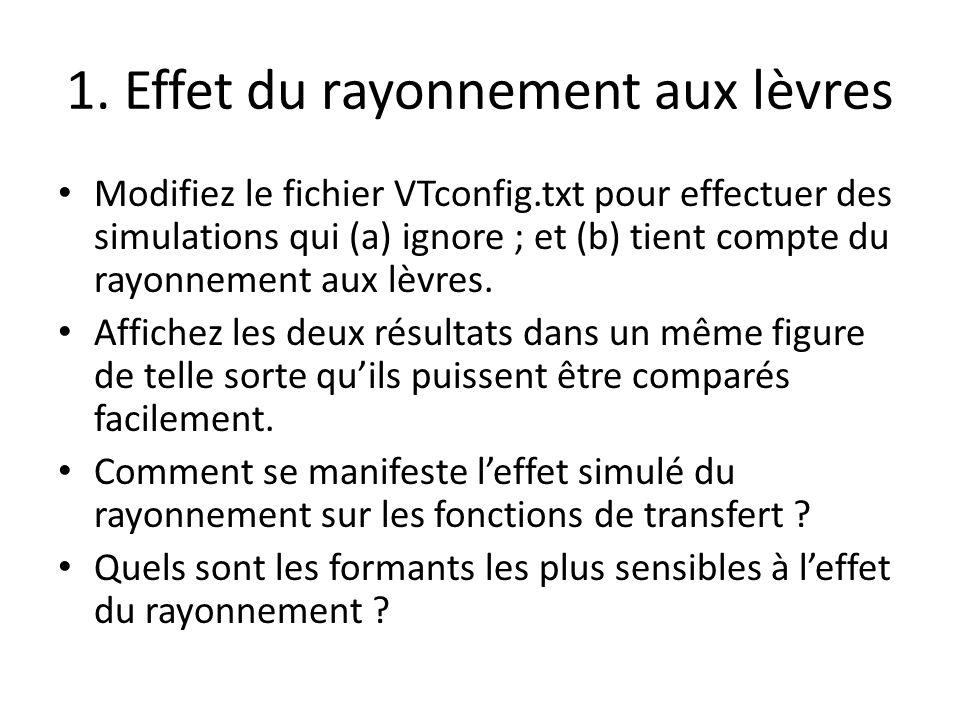 1. Effet du rayonnement aux lèvres Modifiez le fichier VTconfig.txt pour effectuer des simulations qui (a) ignore ; et (b) tient compte du rayonnement