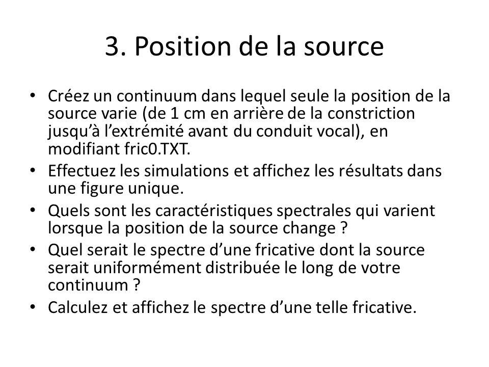 3. Position de la source Créez un continuum dans lequel seule la position de la source varie (de 1 cm en arrière de la constriction jusquà lextrémité