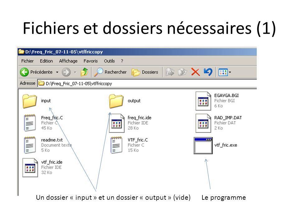 Fichiers et dossiers nécessaires (1) Un dossier « input » et un dossier « output » (vide)Le programme