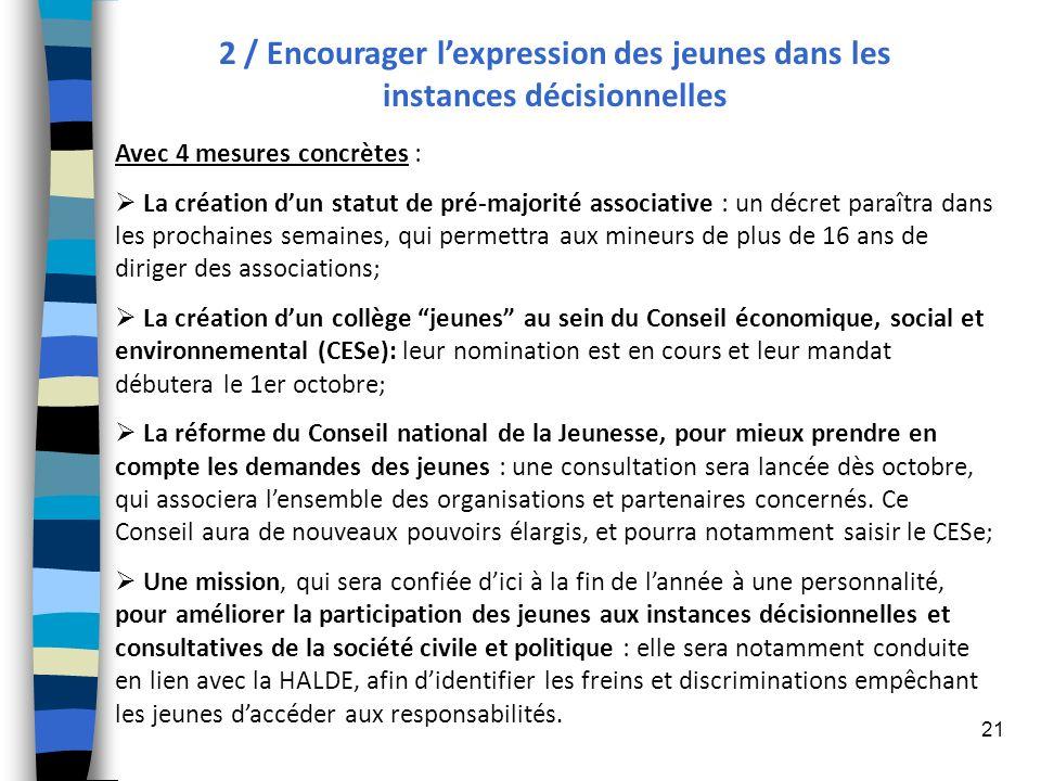 21 2 / Encourager lexpression des jeunes dans les instances décisionnelles Avec 4 mesures concrètes : La création dun statut de pré-majorité associati