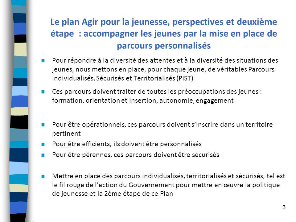 3 Le plan Agir pour la jeunesse, perspectives et deuxième étape : accompagner les jeunes par la mise en place de parcours personnalisés n Pour répondr
