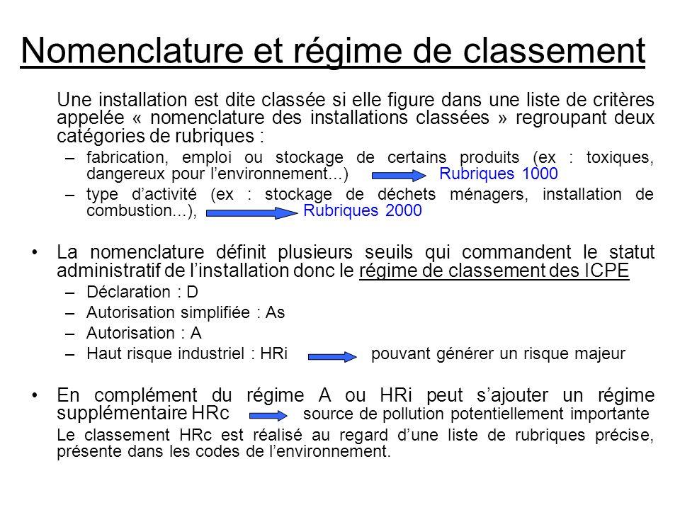 Nomenclature et régime de classement Une installation est dite classée si elle figure dans une liste de critères appelée « nomenclature des installati