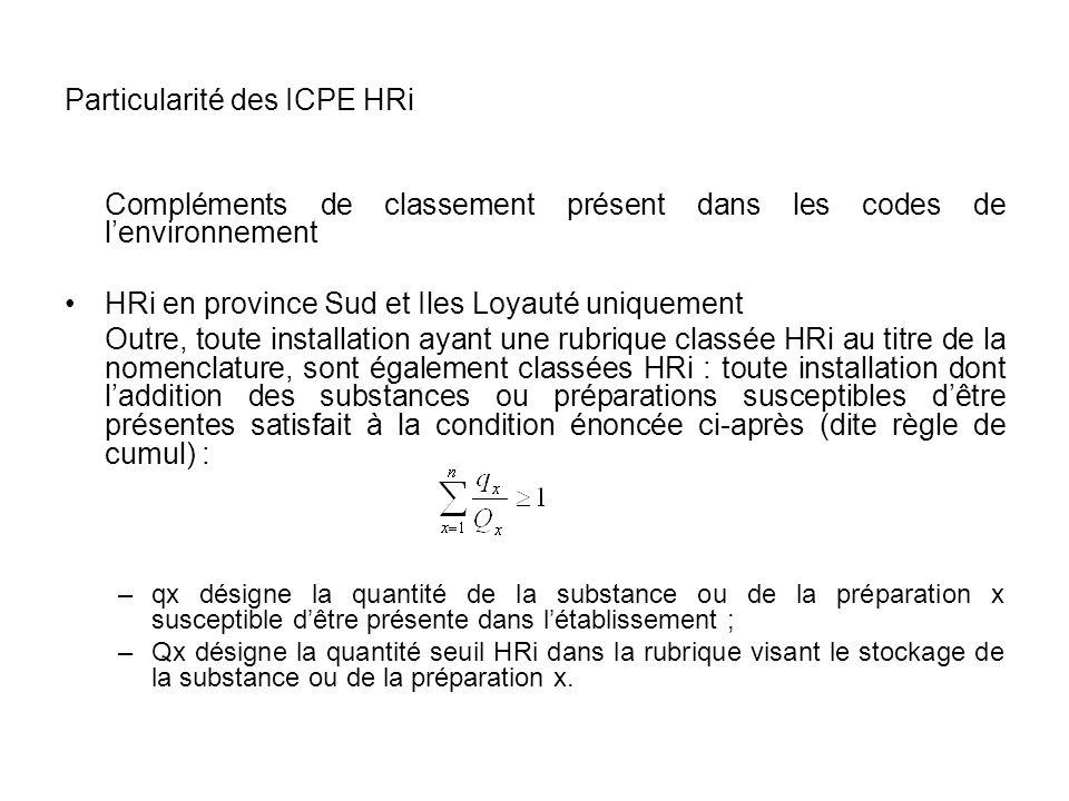 Particularité des ICPE HRi Compléments de classement présent dans les codes de lenvironnement HRi en province Sud et Iles Loyauté uniquement Outre, to