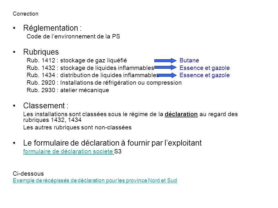 Correction Réglementation : Code de lenvironnement de la PS Rubriques Rub. 1412 : stockage de gaz liquéfié Butane Rub. 1432 : stockage de liquides inf