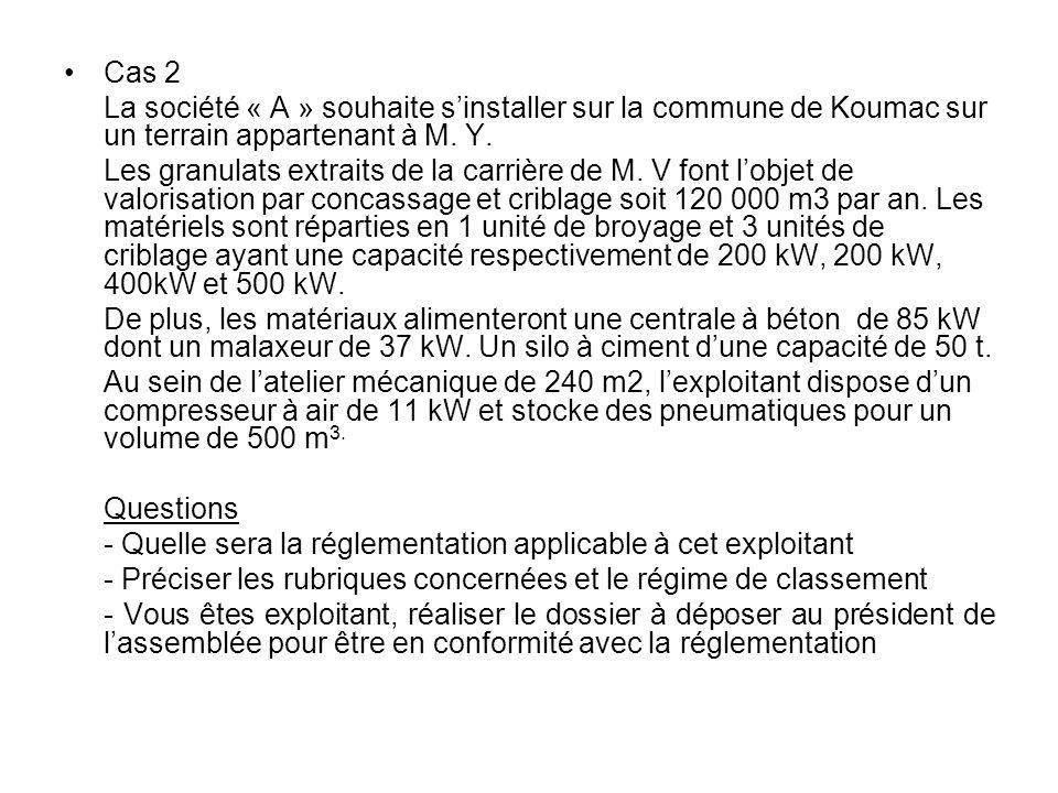 Cas 2 La société « A » souhaite sinstaller sur la commune de Koumac sur un terrain appartenant à M. Y. Les granulats extraits de la carrière de M. V f