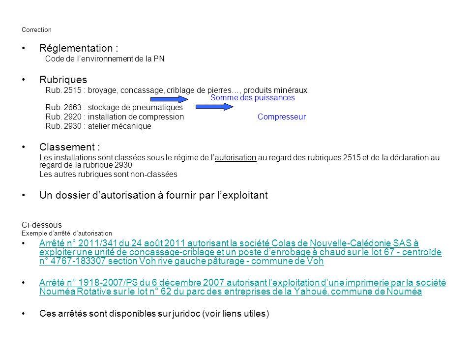 Correction Réglementation : Code de lenvironnement de la PN Rubriques Rub. 2515 : broyage, concassage, criblage de pierres…, produits minéraux Somme d