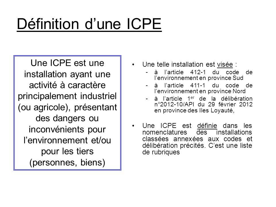 Définition dune ICPE Une telle installation est visée : -à larticle 412-1 du code de lenvironnement en province Sud -à larticle 411-1 du code de lenvi