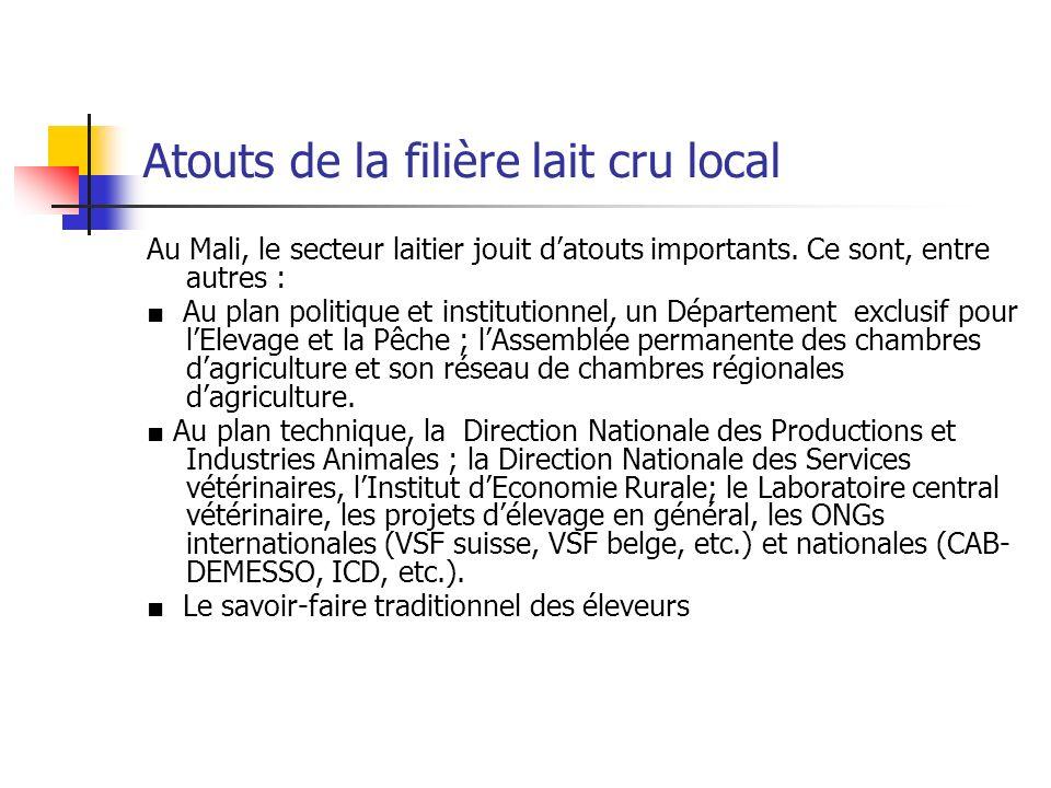 Atouts de la filière lait cru local Au Mali, le secteur laitier jouit datouts importants. Ce sont, entre autres : Au plan politique et institutionnel,