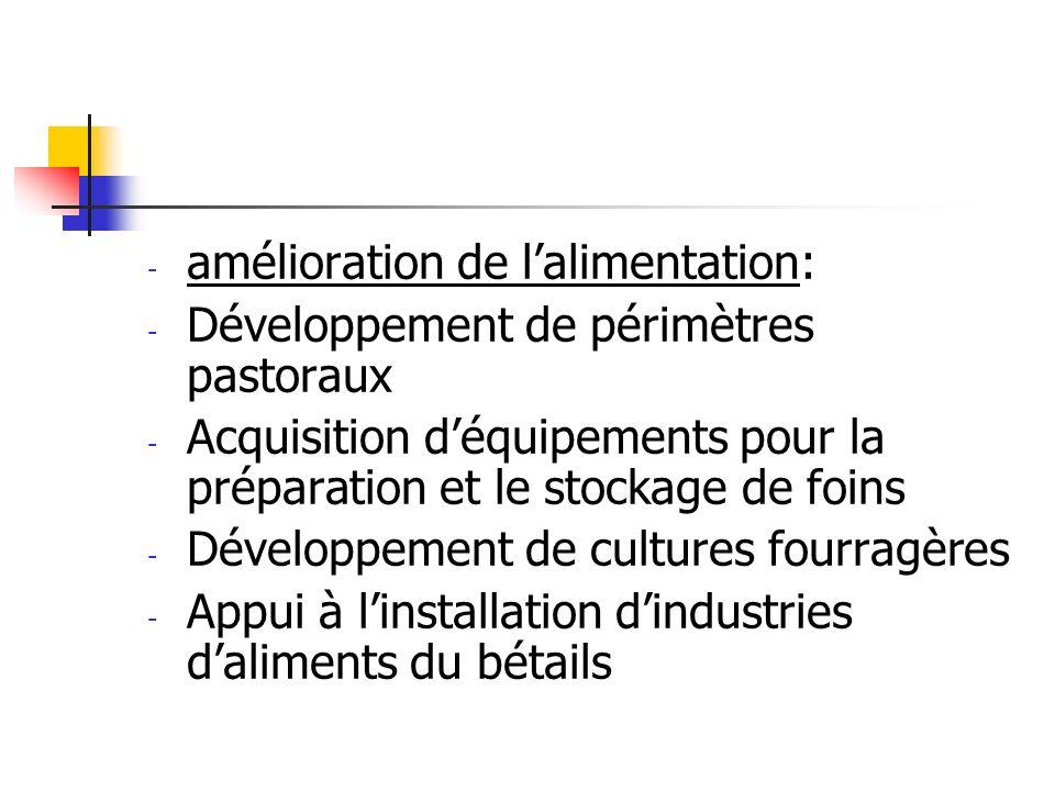 - amélioration de lalimentation: - Développement de périmètres pastoraux - Acquisition déquipements pour la préparation et le stockage de foins - Déve