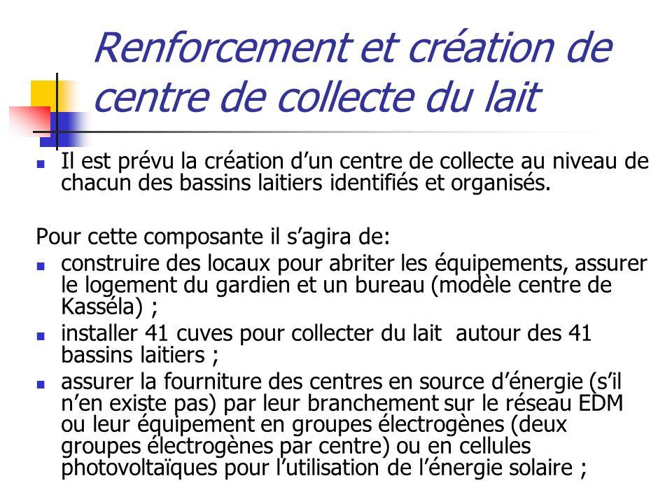 Renforcement et création de centre de collecte du lait Il est prévu la création dun centre de collecte au niveau de chacun des bassins laitiers identifiés et organisés.
