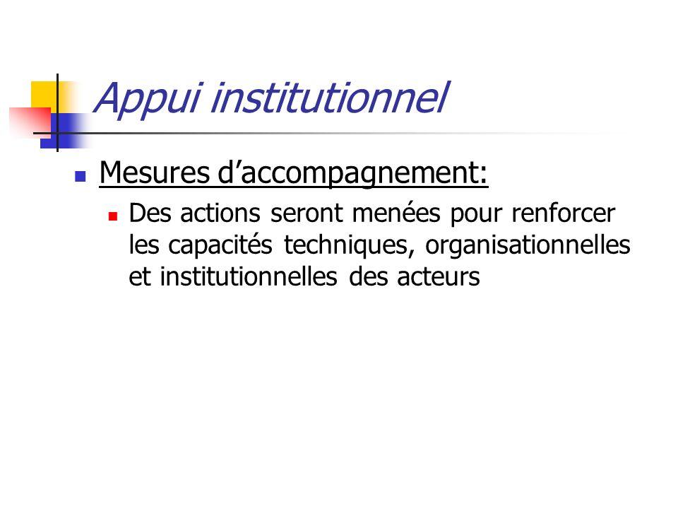 Appui institutionnel Mesures daccompagnement: Des actions seront menées pour renforcer les capacités techniques, organisationnelles et institutionnelles des acteurs