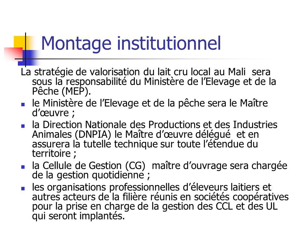 Montage institutionnel La stratégie de valorisation du lait cru local au Mali sera sous la responsabilité du Ministère de lElevage et de la Pêche (MEP).
