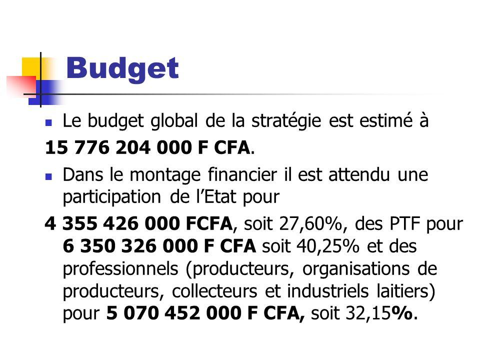 Budget Le budget global de la stratégie est estimé à 15 776 204 000 F CFA. Dans le montage financier il est attendu une participation de lEtat pour 4