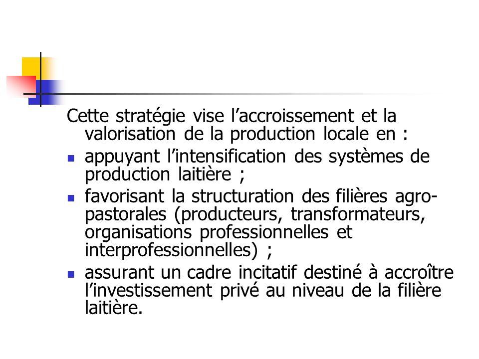 Cette stratégie vise laccroissement et la valorisation de la production locale en : appuyant lintensification des systèmes de production laitière ; fa