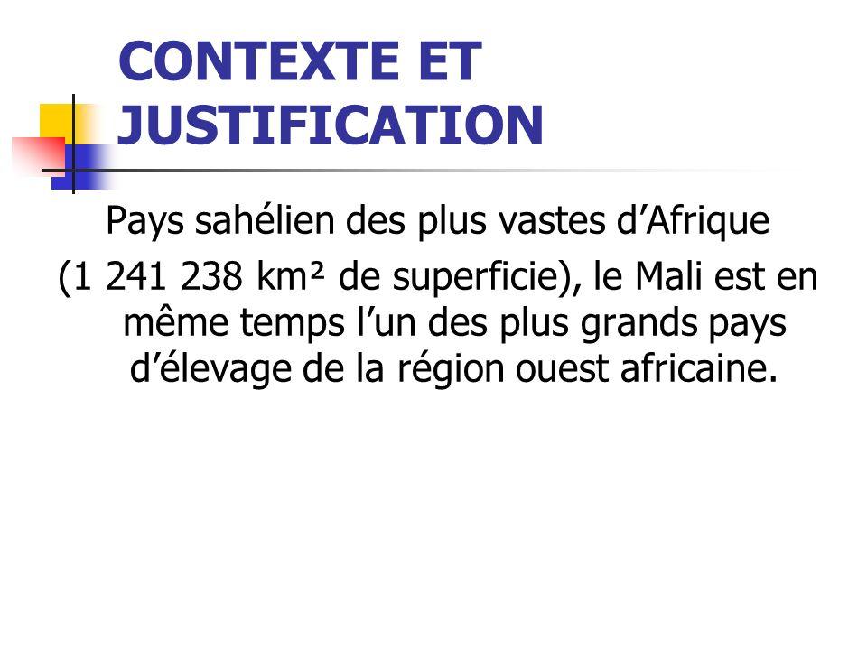 CONTEXTE ET JUSTIFICATION Pays sahélien des plus vastes dAfrique (1 241 238 km² de superficie), le Mali est en même temps lun des plus grands pays délevage de la région ouest africaine.