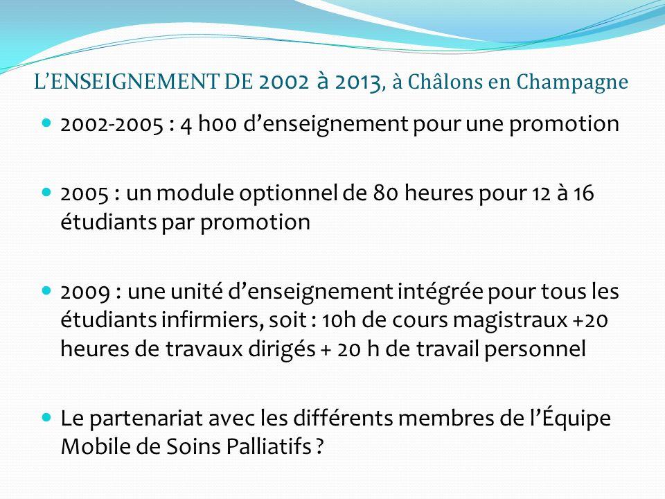 LENSEIGNEMENT DE 2002 à 2013, à Châlons en Champagne 2002-2005 : 4 h00 denseignement pour une promotion 2005 : un module optionnel de 80 heures pour 1