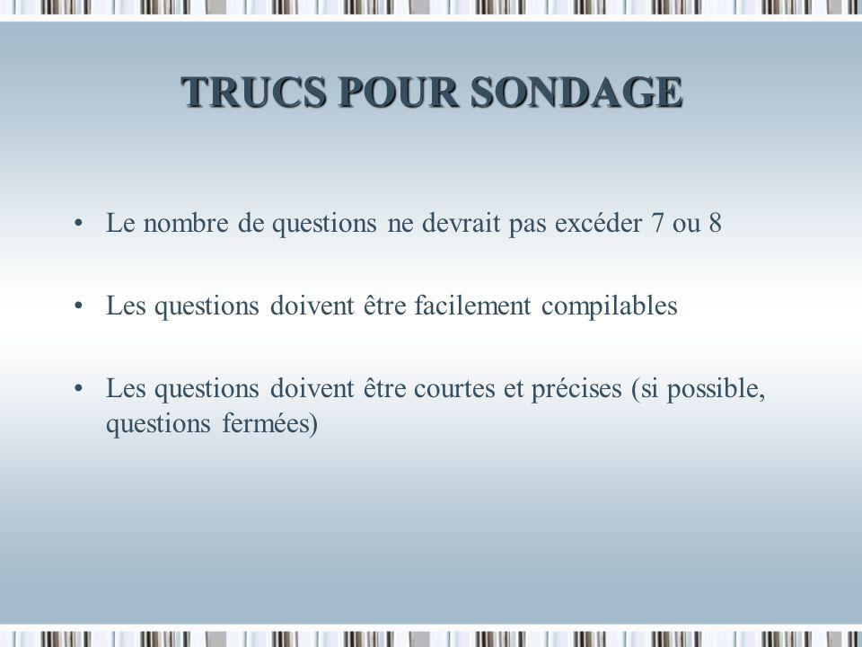 TRUCS POUR SONDAGE Le nombre de questions ne devrait pas excéder 7 ou 8 Les questions doivent être facilement compilables Les questions doivent être courtes et précises (si possible, questions fermées)