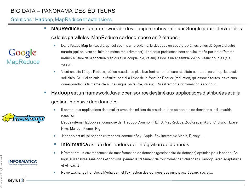 13 © Keyrus - All rights reserved Solutions : Hadoop, MapReduce et extensions BIG DATA – PANORAMA DES ÉDITEURS MapReduce est un framework de développe