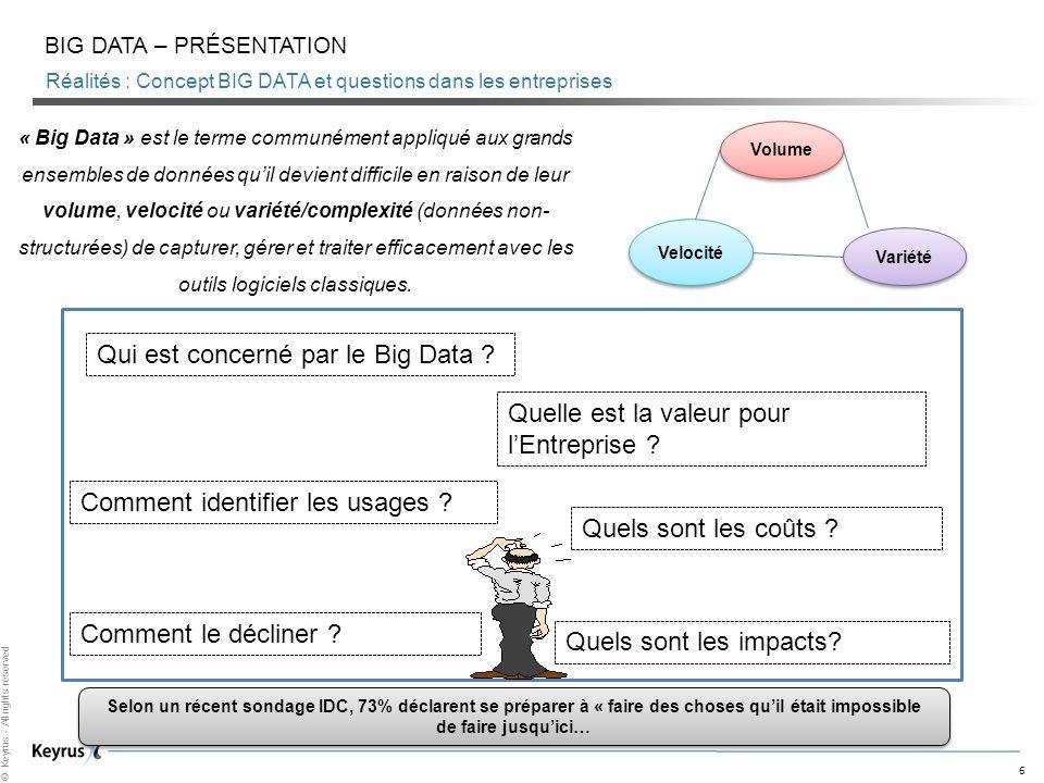 6 © Keyrus - All rights reserved Réalités : Concept BIG DATA et questions dans les entreprises BIG DATA – PRÉSENTATION « Big Data » est le terme commu