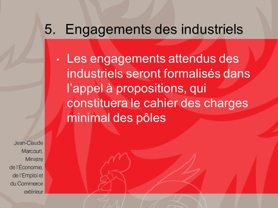 5.Engagements des industriels Les engagements attendus des industriels seront formalisés dans lappel à propositions, qui constituera le cahier des charges minimal des pôles