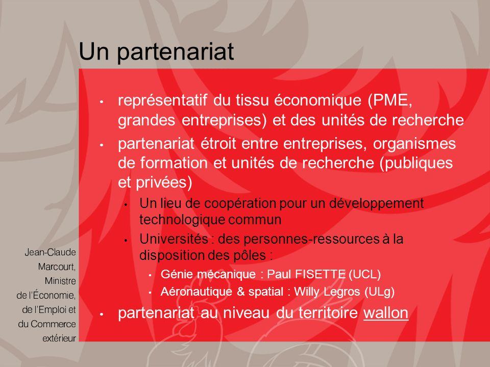 Un partenariat représentatif du tissu économique (PME, grandes entreprises) et des unités de recherche partenariat étroit entre entreprises, organismes de formation et unités de recherche (publiques et privées) Un lieu de coopération pour un développement technologique commun Universités : des personnes-ressources à la disposition des pôles : Génie mécanique : Paul FISETTE (UCL) Aéronautique & spatial : Willy Legros (ULg) partenariat au niveau du territoire wallon