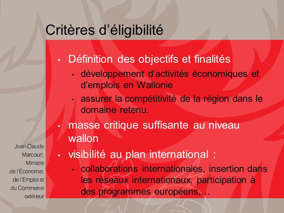 Critères déligibilité Définition des objectifs et finalités développement dactivités économiques et demplois en Wallonie assurer la compétitivité de la région dans le domaine retenu.