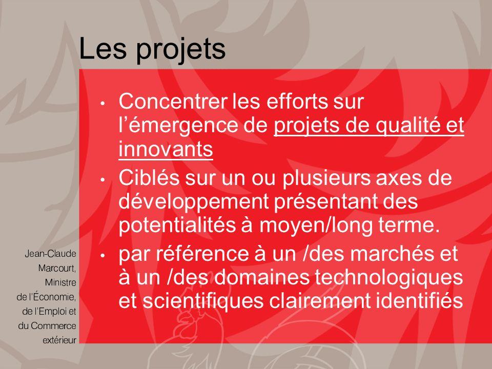 Les projets Concentrer les efforts sur lémergence de projets de qualité et innovants Ciblés sur un ou plusieurs axes de développement présentant des potentialités à moyen/long terme.