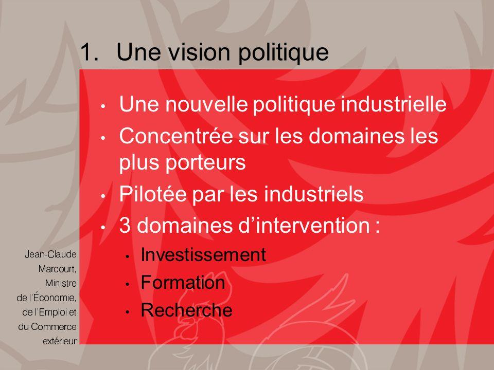 1.Une vision politique Une nouvelle politique industrielle Concentrée sur les domaines les plus porteurs Pilotée par les industriels 3 domaines dintervention : Investissement Formation Recherche
