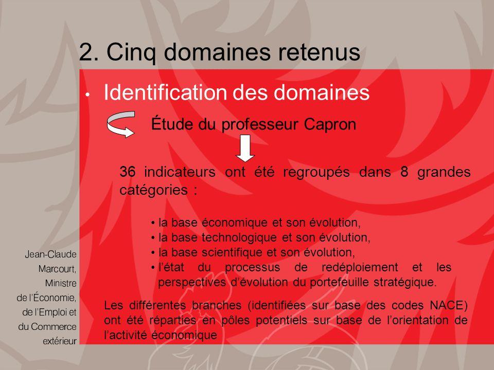 2. Cinq domaines retenus 36 indicateurs ont été regroupés dans 8 grandes catégories : Identification des domaines Étude du professeur Capron Les diffé
