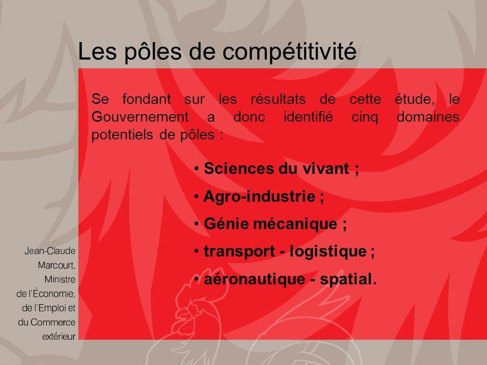 Les pôles de compétitivité Se fondant sur les résultats de cette étude, le Gouvernement a donc identifié cinq domaines potentiels de pôles : Sciences du vivant ; Agro-industrie ; Génie mécanique ; transport - logistique ; aéronautique - spatial.