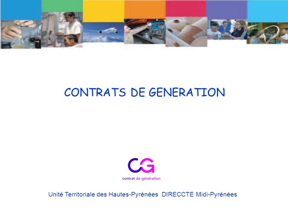 CONTRATS DE GENERATION Unité Territoriale des Hautes-Pyrénées DIRECCTE Midi-Pyrénées