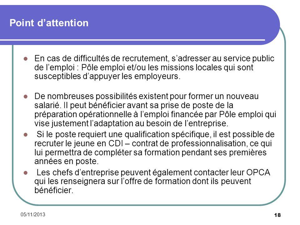 05/11/2013 18 Point dattention En cas de difficultés de recrutement, sadresser au service public de lemploi : Pôle emploi et/ou les missions locales qui sont susceptibles dappuyer les employeurs.