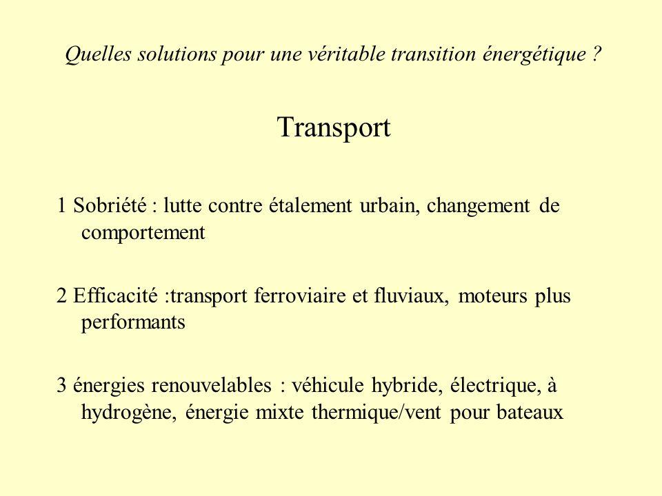Quelles solutions pour une véritable transition énergétique ? Transport 1 Sobriété : lutte contre étalement urbain, changement de comportement 2 Effic