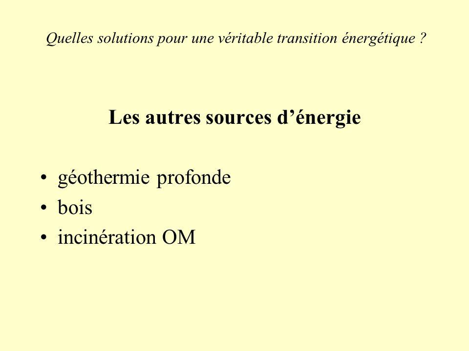 Quelles solutions pour une véritable transition énergétique ? Les autres sources dénergie géothermie profonde bois incinération OM