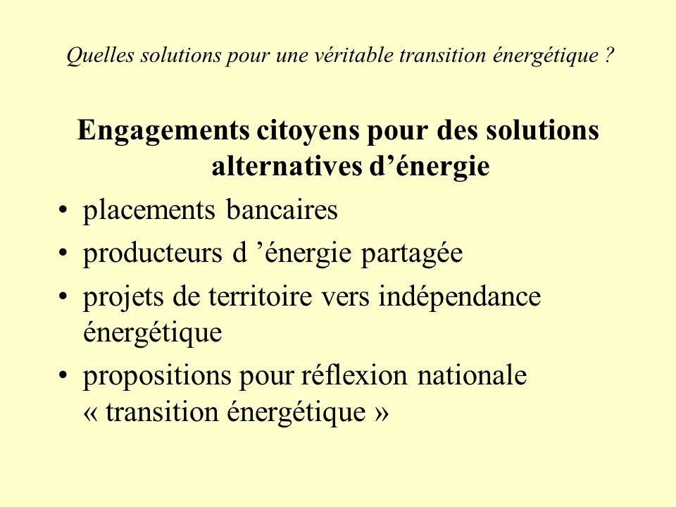 Quelles solutions pour une véritable transition énergétique ? Engagements citoyens pour des solutions alternatives dénergie placements bancaires produ