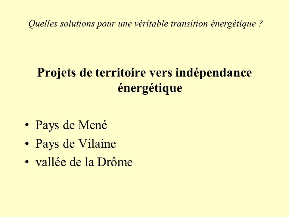 Quelles solutions pour une véritable transition énergétique ? Projets de territoire vers indépendance énergétique Pays de Mené Pays de Vilaine vallée