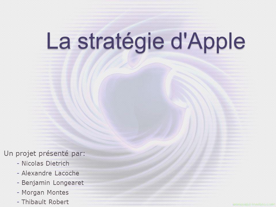 La stratégie d'Apple Un projet présenté par: - Nicolas Dietrich - Alexandre Lacoche - Benjamin Longearet - Morgan Montes - Thibault Robert