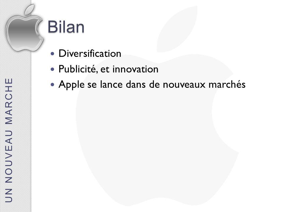 UN NOUVEAU MARCHEBilan Diversification Publicité, et innovation Apple se lance dans de nouveaux marchés