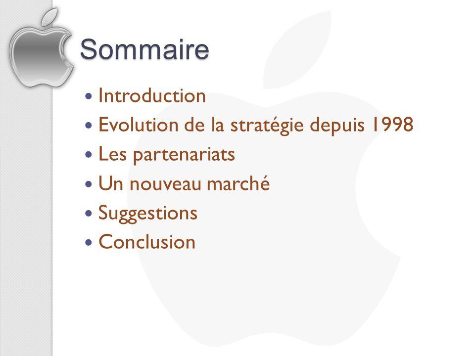 Sommaire Introduction Evolution de la stratégie depuis 1998 Les partenariats Un nouveau marché Suggestions Conclusion