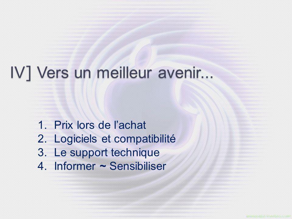 IV ] Vers un meilleur avenir... 1. Prix lors de lachat 2. Logiciels et compatibilité 3. Le support technique 4. Informer ~ Sensibiliser