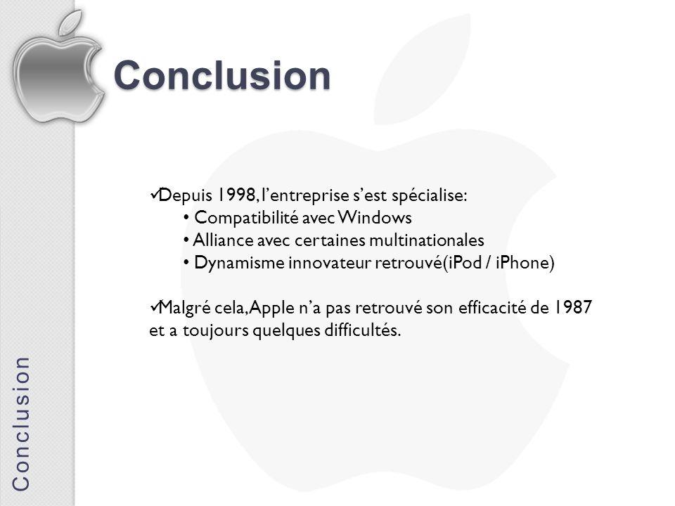 Conclusion Conclusion Depuis 1998, lentreprise sest spécialise: Compatibilité avec Windows Alliance avec certaines multinationales Dynamisme innovateu