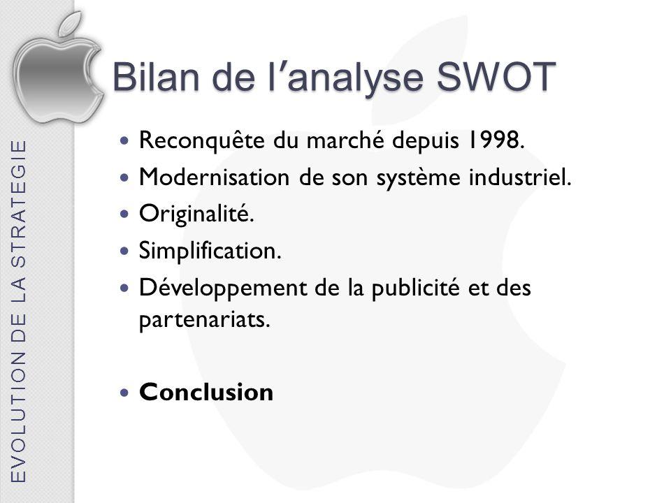 Bilan de l analyse SWOT Reconquête du marché depuis 1998. Modernisation de son système industriel. Originalité. Simplification. Développement de la pu