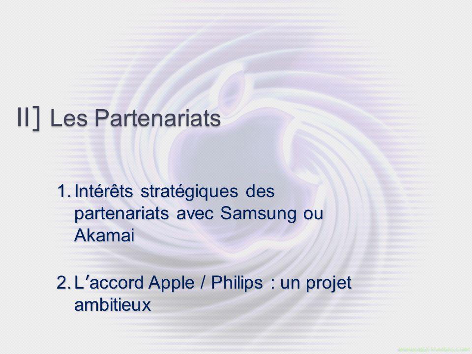 II ] Les Partenariats 1. Intérêts stratégiques des partenariats avec Samsung ou Akamai 2. L accord Apple / Philips : un projet ambitieux