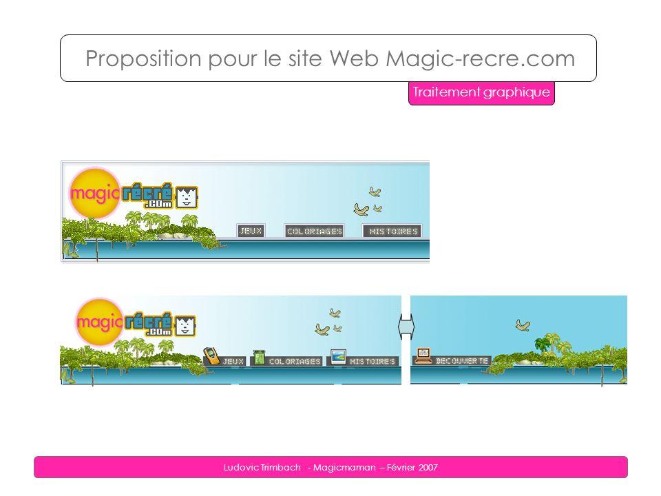 Ludovic Trimbach - Magicmaman – Février 2007 Proposition pour le site Web Magic-recre.com Traitement graphique