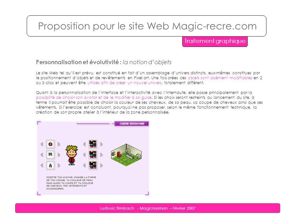 Ludovic Trimbach - Magicmaman – Février 2007 Personnalisation et évolutivité : la notion dobjets Le site Web tel quil est prévu, est constitué en fait dun assemblage dunivers distincts, eux-mêmes constitues par le positionnement dobjets et de revêtements en Pixel art.