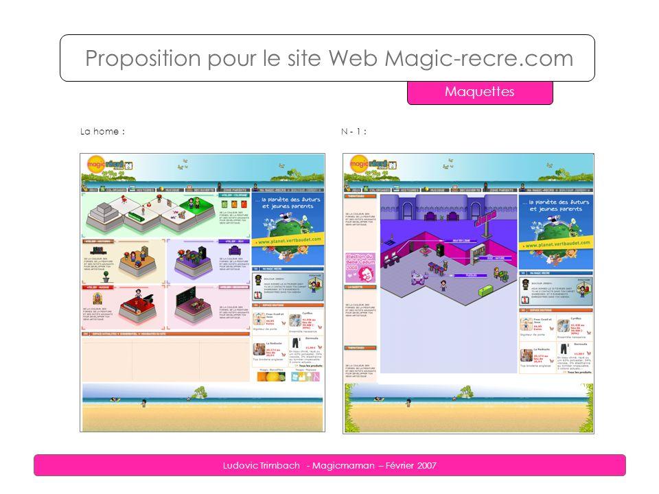 Ludovic Trimbach - Magicmaman – Février 2007 La home : Proposition pour le site Web Magic-recre.com Maquettes N - 1 :