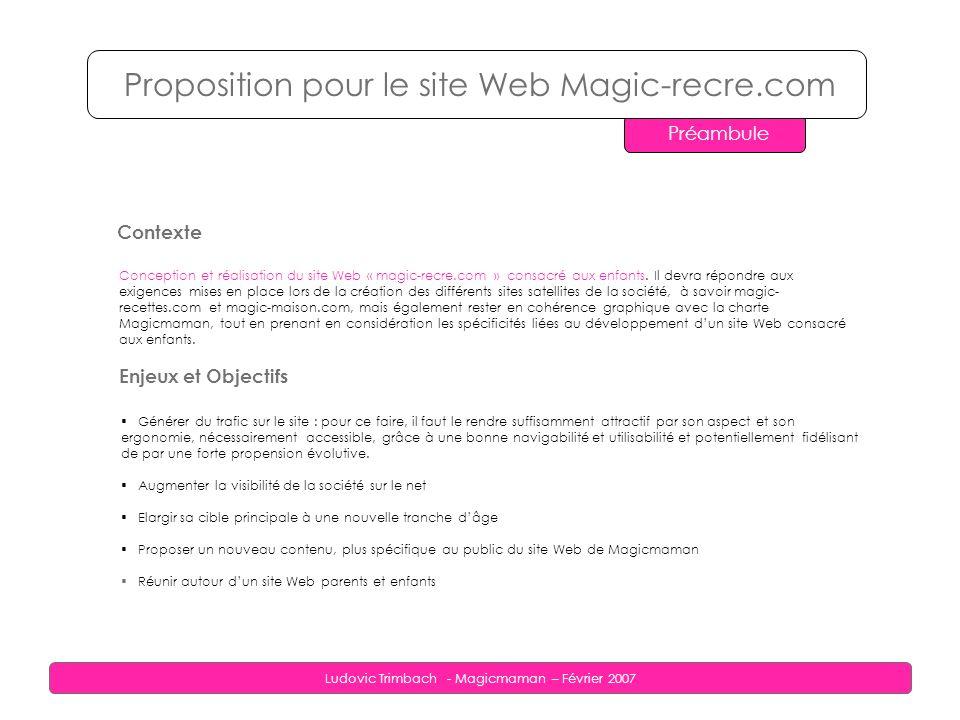 Ludovic Trimbach - Magicmaman – Février 2007 Proposition pour le site Web Magic-recre.com Préambule Contexte Conception et réalisation du site Web « magic-recre.com » consacré aux enfants.
