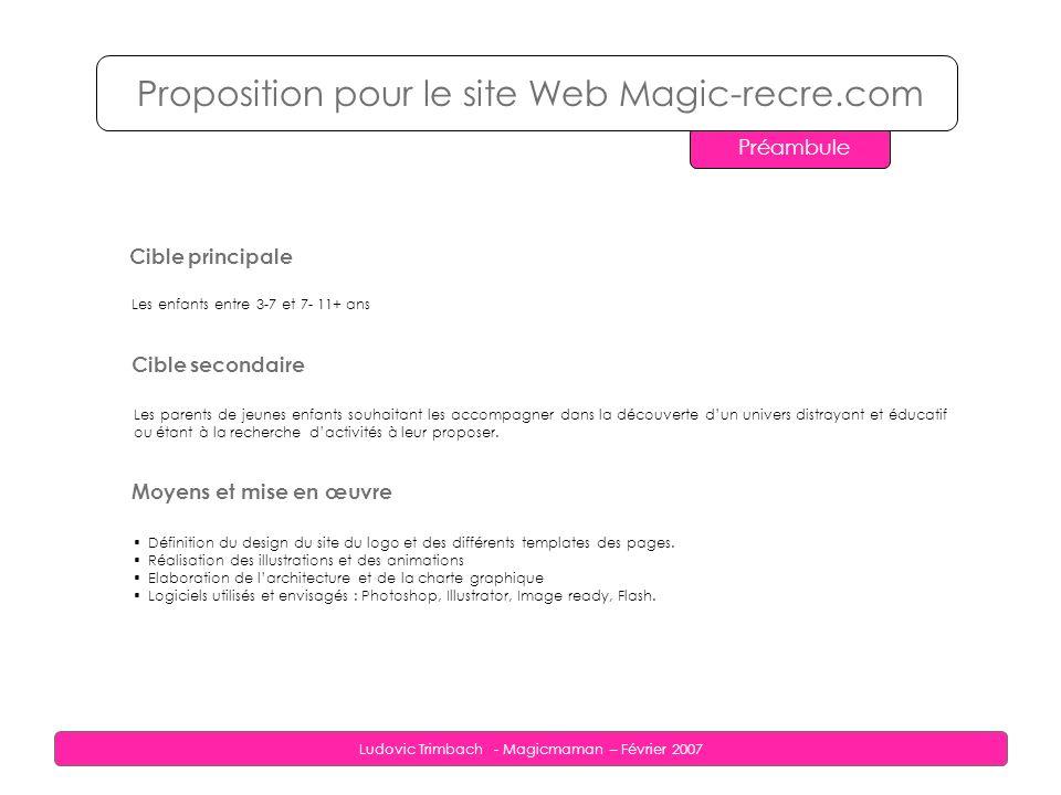 Ludovic Trimbach - Magicmaman – Février 2007 Proposition pour le site Web Magic-recre.com Traitement graphique Aspect général des pages : le pixel art façon Magicmaman La solution envisagée pour le traitement graphique en général est donc celle du Pixel art.